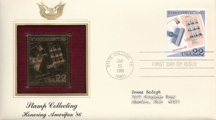First day cover bearing 22-cent Ameripex '86 sheet stamp