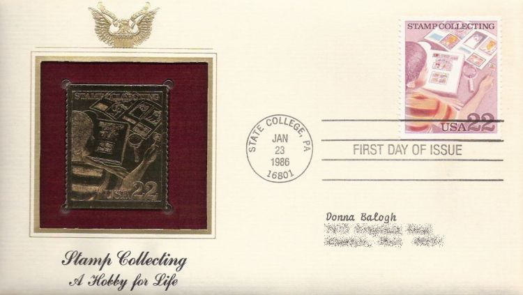 First day cover bearing 22-cent boy examining stamp collection stamp