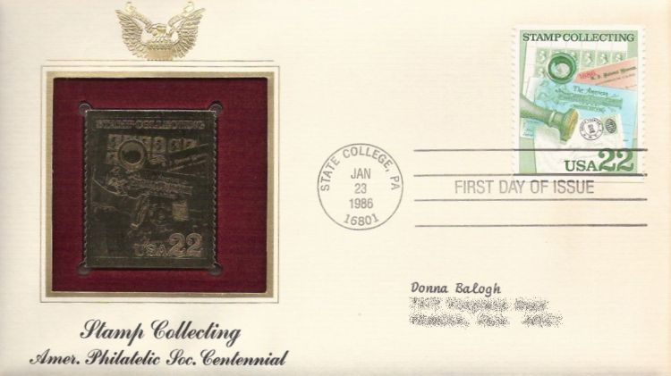 First day cover bearing 22-cent cover and memoribilia stamp