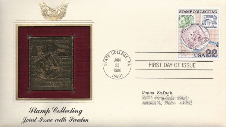 First day cover bearing 22-cent stamps and magnifying glass stamp