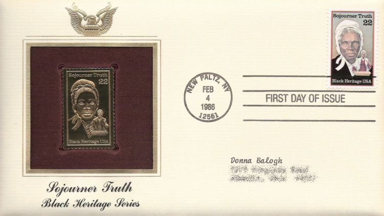 First day cover bearing 22-cent Sojourner Truth stamp
