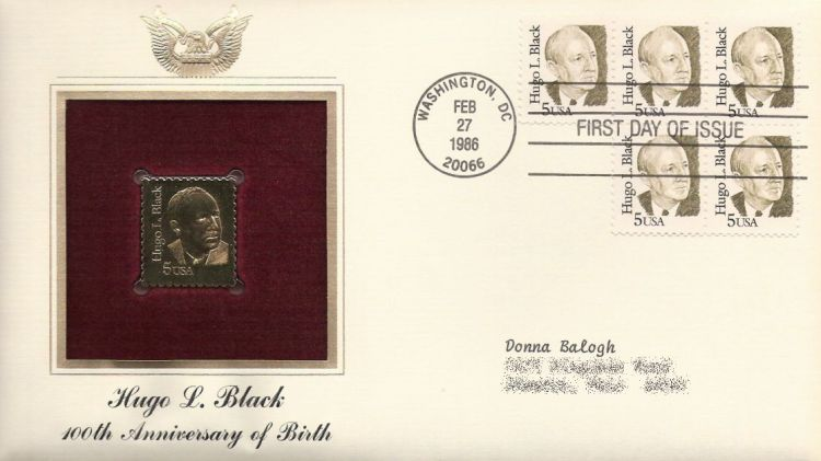 First day cover bearing five 5-cent Hugo L. Black stamps