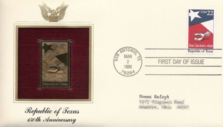 First day cover bearing 22-cent Republic of Texas stamp