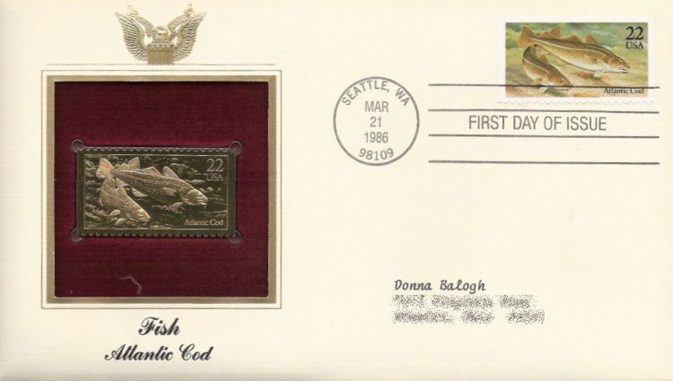 First day cover bearing 22-cent Atlantic cod stamp