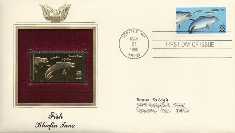 First day cover bearing 22-cent bluefin tuna stamp