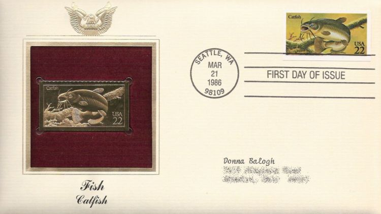 First day cover bearing 22-cent catfish stamp