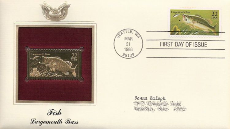 First day cover bearing 22-cent largemouth bass stamp
