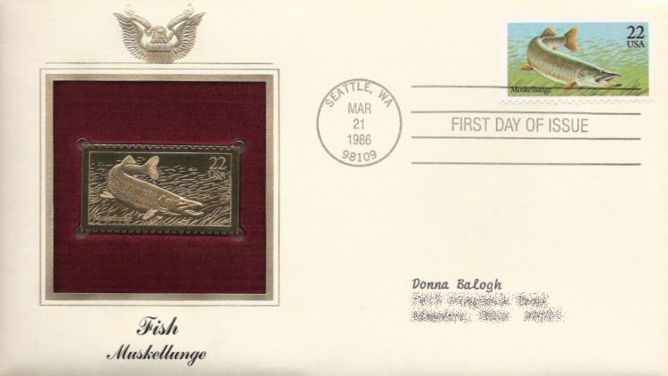 First day cover bearing 22-cent muskellunge stamp
