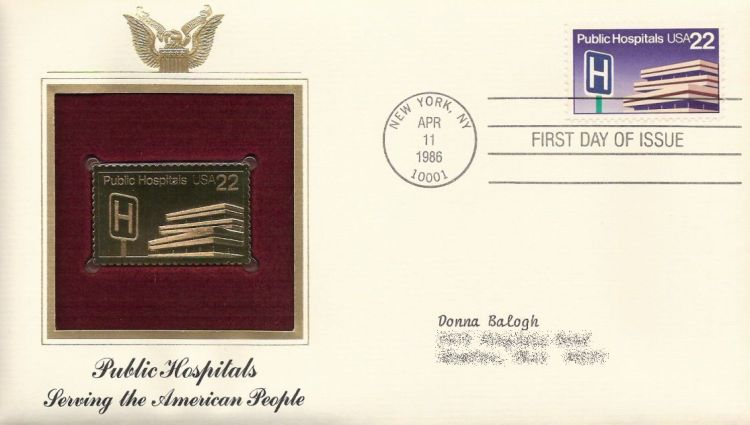 First day cover bearing 22-cent public hospitals stamp