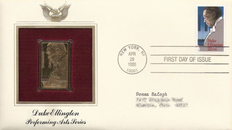 First day cover bearing 22-cent Duke Ellington stamp