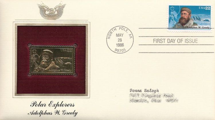 First day cover bearing 22-cent Adolphus W. Greely stamp