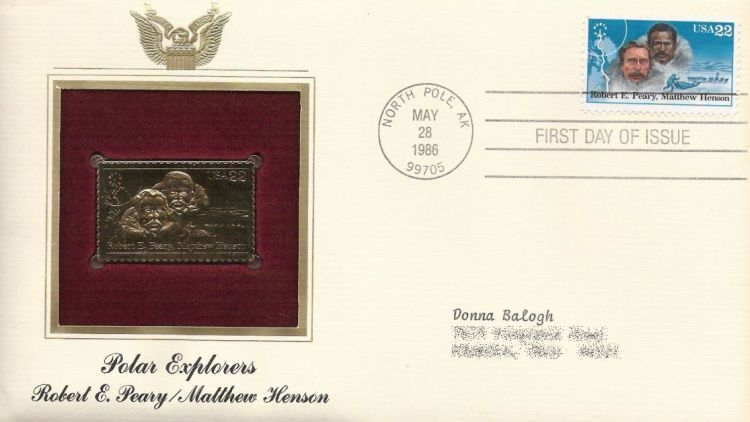 First day cover bearing 22-centRobert E. Peary and Matthew Henson stamp