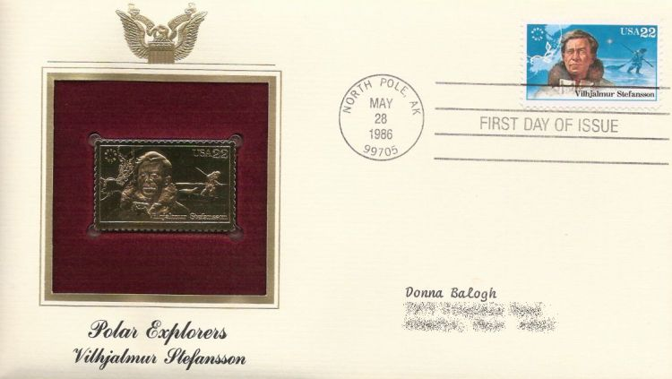 First day cover bearing 22-cent Vilhjalmur Stefansson stamp