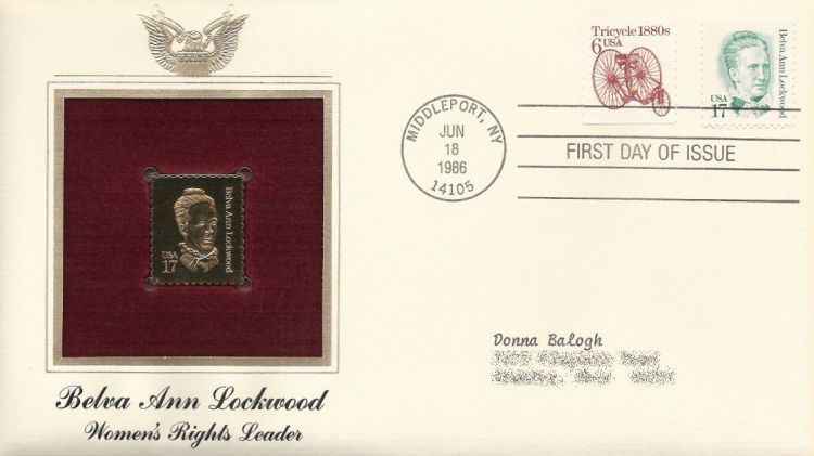 First day cover bearing tricycle and Belva Ann Lockwood stamps