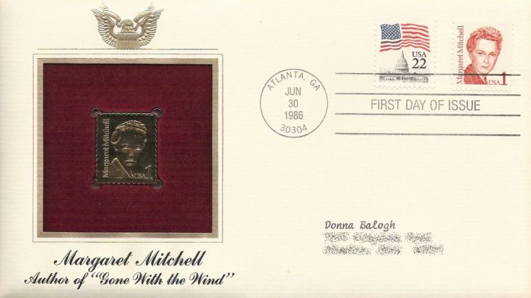 First day cover bearing U.S. Capitol and Margaret Mitchell stamps