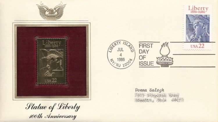 First day cover bearing Statue of Liberty stamp
