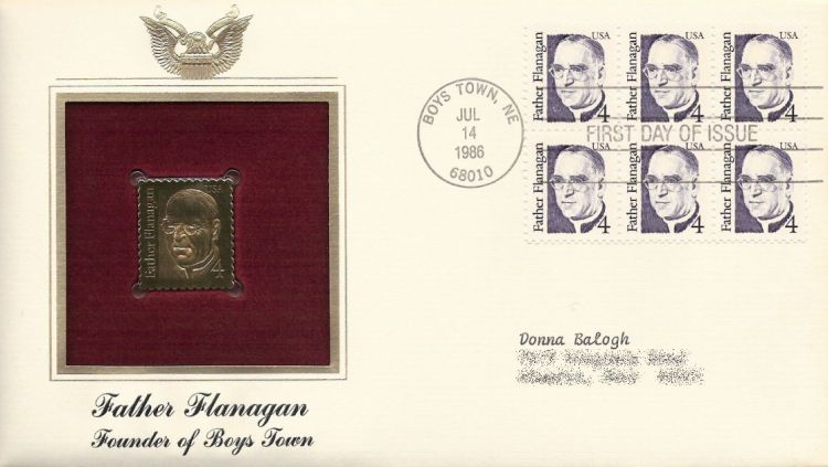 First day cover bearing block of six 4-cent Father Flanagan stamps