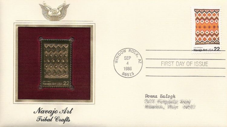 First day cover bearing 22-cent Navajo blanket stamp