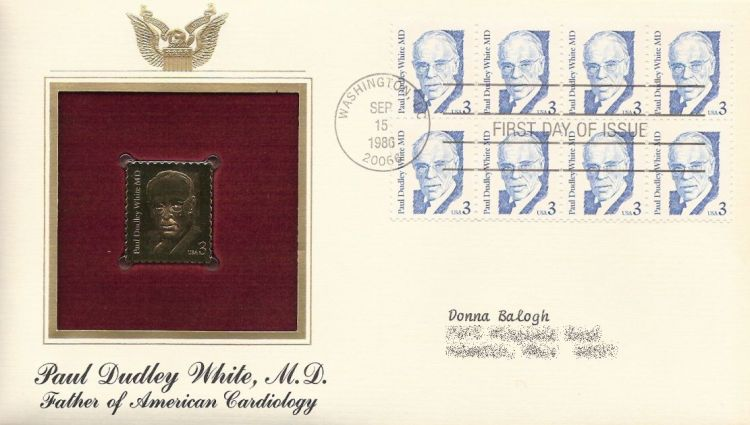 First day cover bearing block of eight 3-cent Paul Dudley White stamps