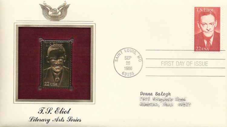 First day cover bearing 22-cent T.S. Eliot stamp