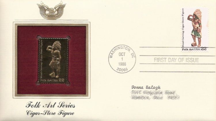 First day cover bearing 22-cent cigar store figure stamp