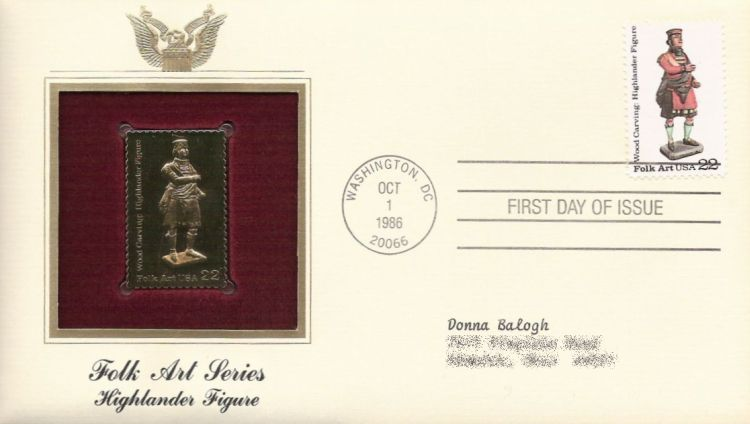 First day cover bearing 22-cent highlander figure stamp