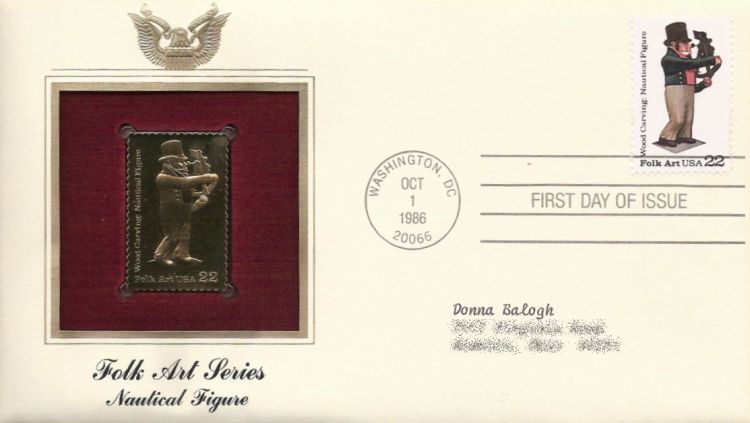 First day cover bearing 22-cent nautical figure stamp