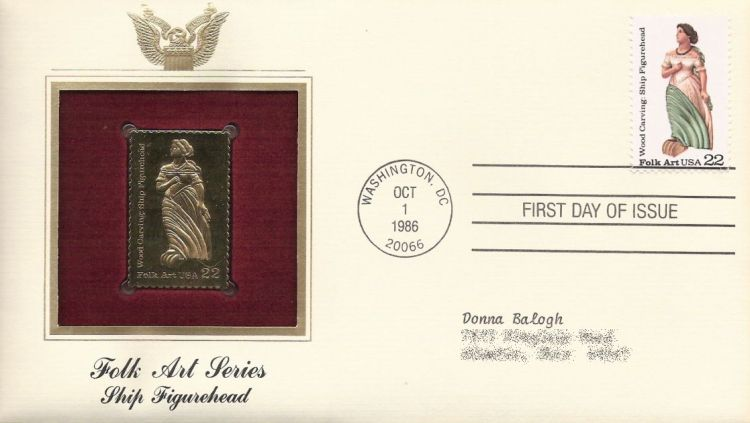 First day cover bearing 22-cent ship figurehead stamp