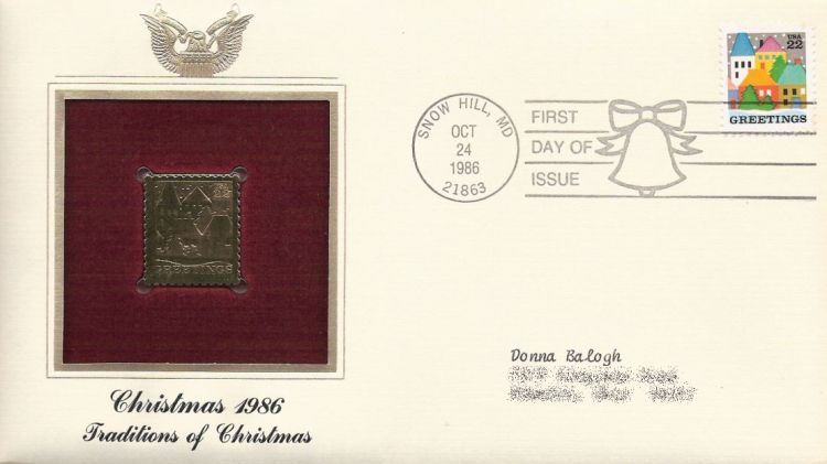 First day cover bearing 22-cent greetings stamp