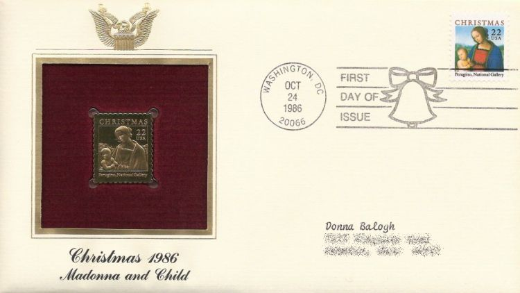 First day cover bearing 22-cent Madonna by Perugino stmap