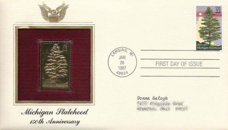 First day cover bearing 22-cent Michigan statehood stamp