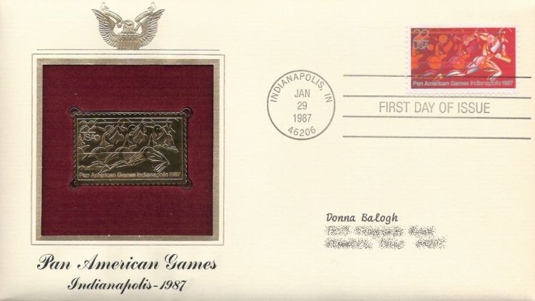 First day cover bearing 22-cent Pan American Games stamp