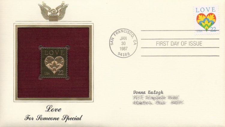 First day cover bearing 22-cent love stamp