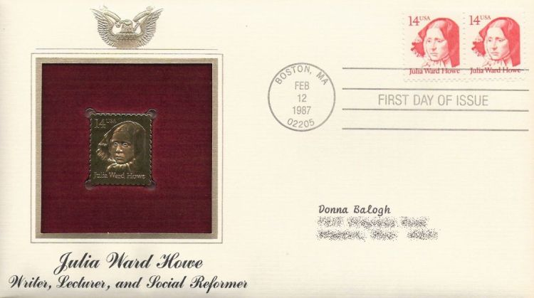 First day cover bearing pair of 14-cent Julia Ward Howe stamps