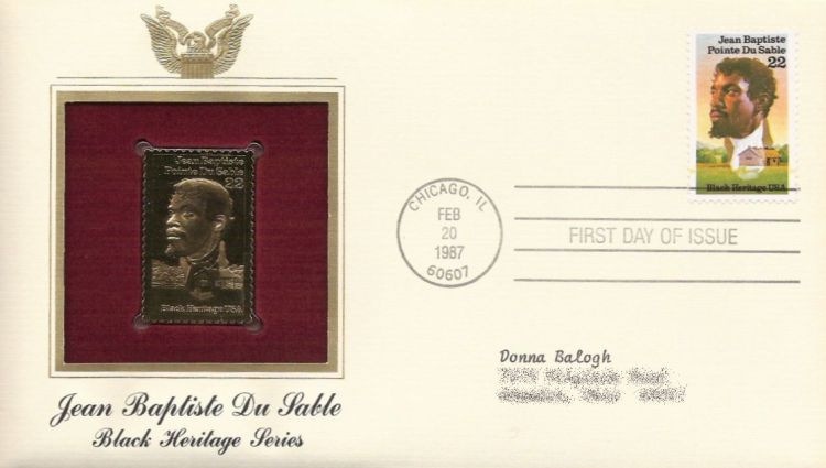 First day cover bearing 22-cent Jean Baptiste Pointe Du Sable stamp