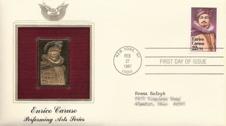 First day cover bearing 22-cent Enrico Caruso stamp