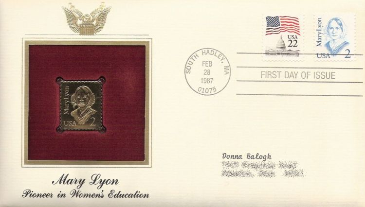 First day cover bearing U.S. Capitol and Mary Lyon stamps