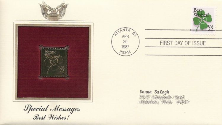 First day cover bearing 22-cent best wishes! stamp