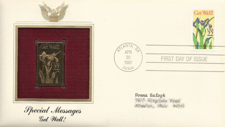 First day cover bearing 22-cent get well! stamp