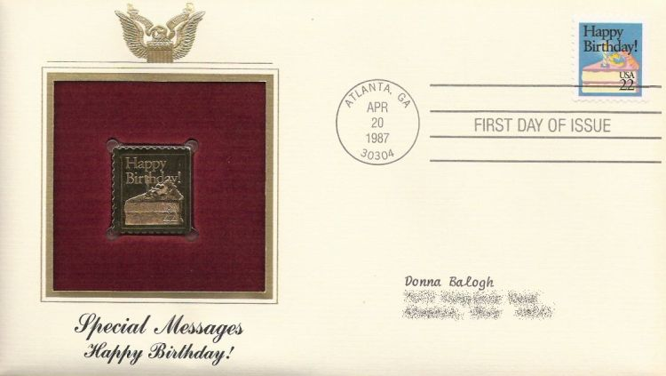 First day cover bearing 22-cent happy birthday! stamp
