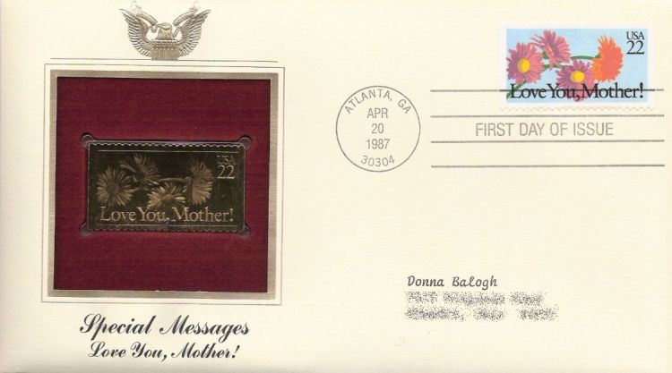First day cover bearing 22-cent love you, Mother! stamp