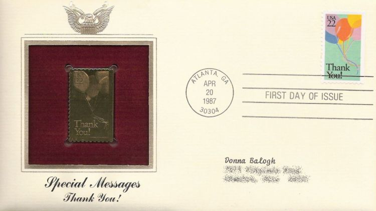 First day cover bearing 22-cent thank you! stmap