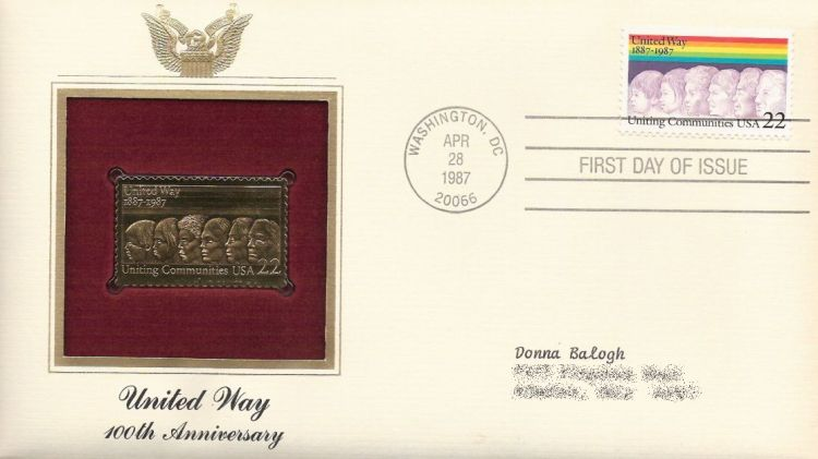 First day cover bearing 22-cent United Way stmap