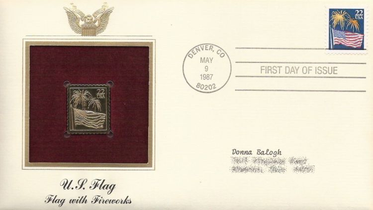 First day cover bearing flag and fireworks stamp