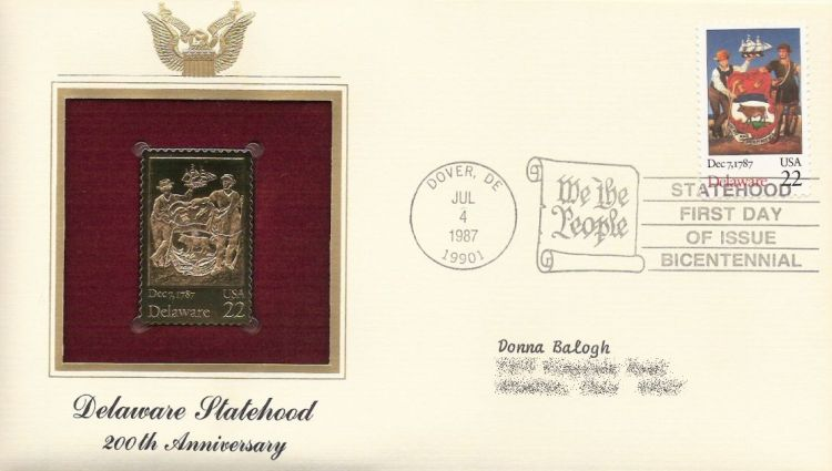 First day cover bearing 22-cent Delaware stamp