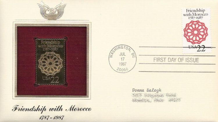 First day cover bearing 22-cent friendship with Morocoo