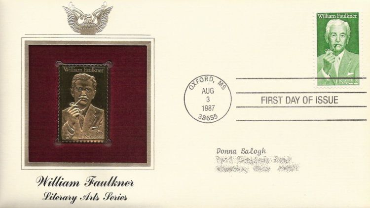 First day cover bearing 22-cent William Faulkner stamp