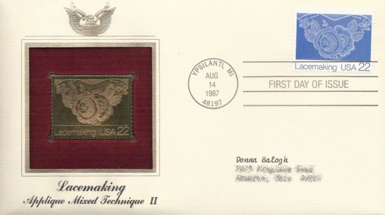 First day cover bearing 22-cent lace by Mary McPeek stamp