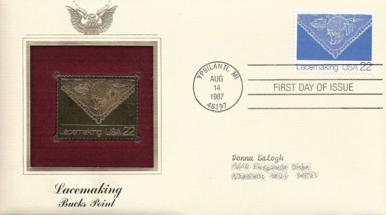 First day cover bearing 22-cent lace by Ruth Maxwell stamp