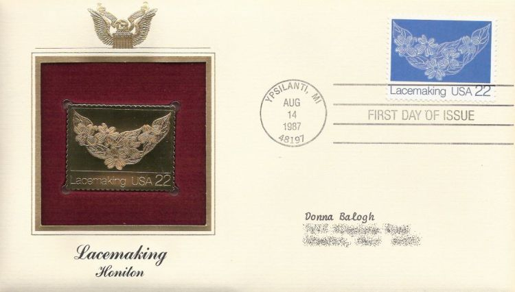 First day cover bearing 22-cent lace by Trenna Ruffner stamp